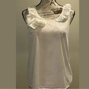 J Crew Sleeveless Ruffled Cotton Top